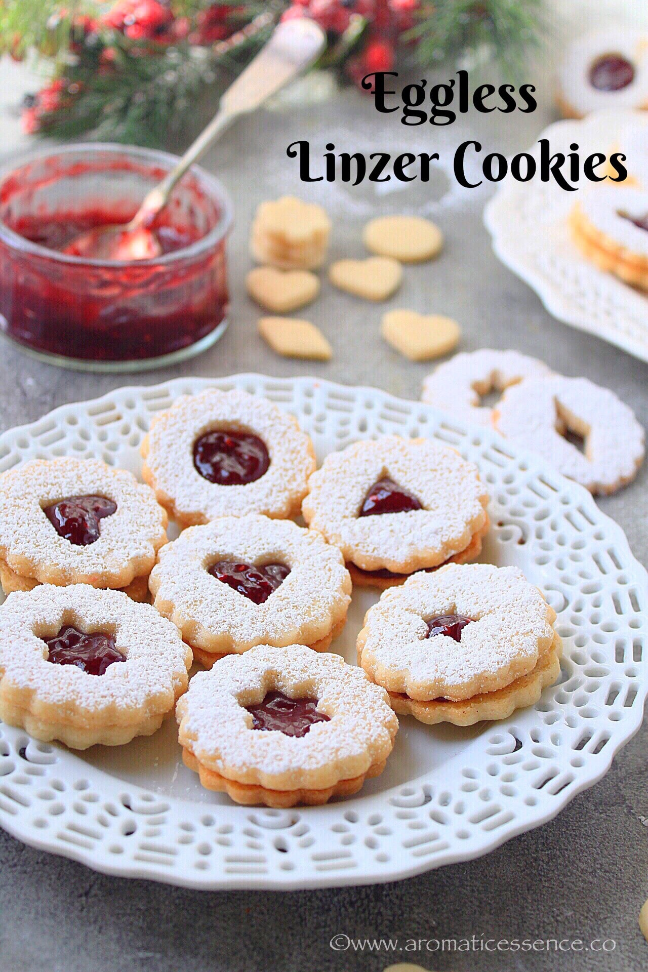 Linzer Cookies Recipe {Eggless} | Linzer Augen Recipe
